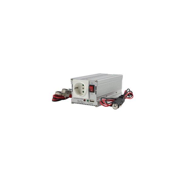 12 volt - 230 volt omformer max 600 Watt med usb..