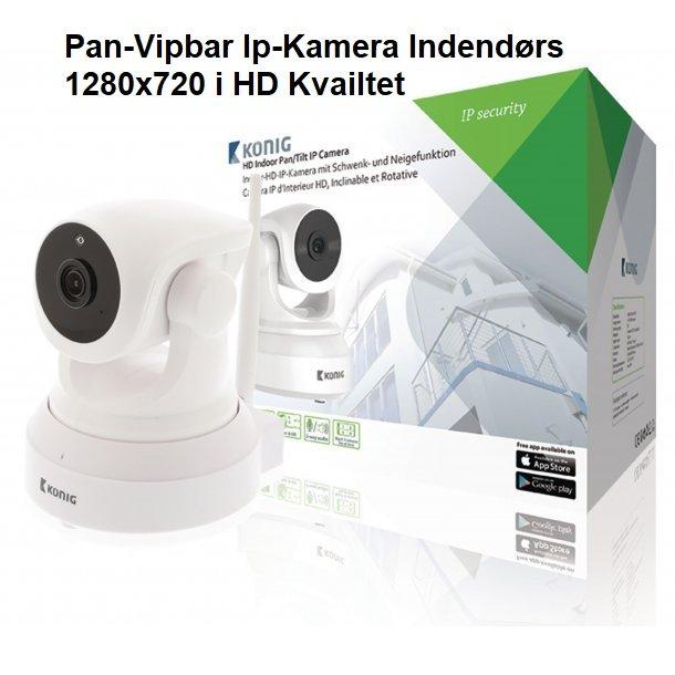HD Pan-Vipbar Ip-Kamera Indendørs 1280x720 Hvid